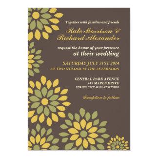 Convite floral retro clássico do casamento