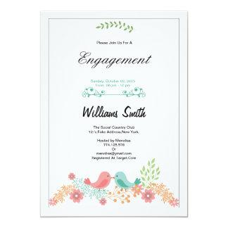 Convite floral romântico da festa de noivado