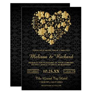 Convite floral romântico do casamento do coração