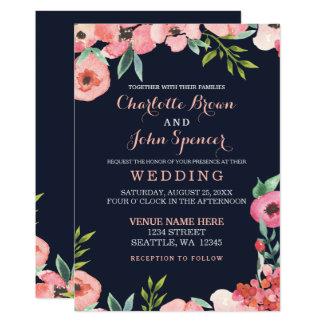 Convite floral romântico do casamento do pêssego