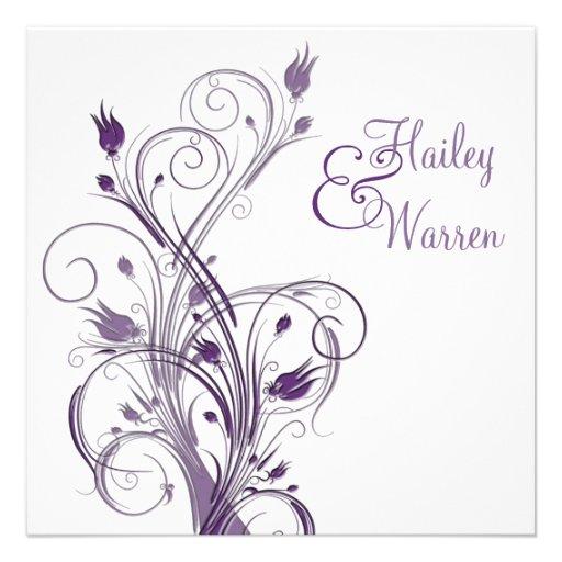 Convite floral roxo e branco do casamento