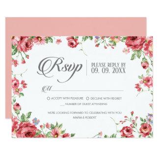 Convite floral RSVP do casamento da aguarela