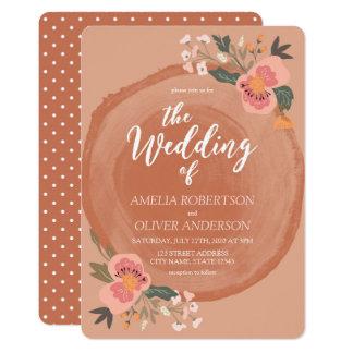 Convite floral rústico de madeira do casamento de