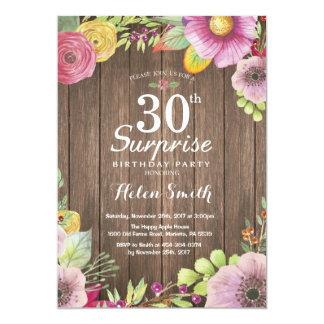 Convite floral rústico do aniversário de 30 anos