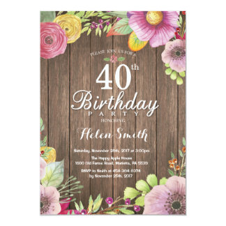 Convite floral rústico do aniversário de 40 anos