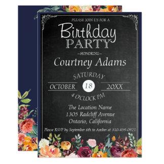 Convite floral rústico do aniversário do quadro