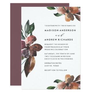 Convite floral temperamental do casamento