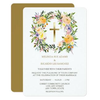 Convite floral transversal do casamento da