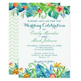 Convite floral tropical do casamento