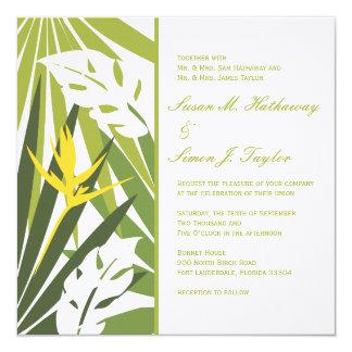 Convite floral tropical do casamento - amarelo