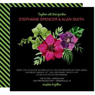 Convite floral verde roxo do casamento do rosa