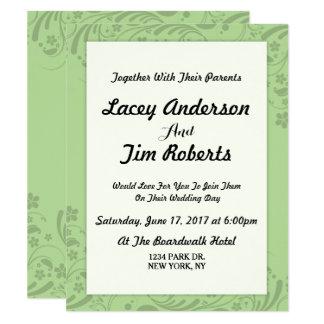 Convite floral verde simples do casamento