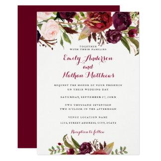 Convite floral vermelho do casamento outono de