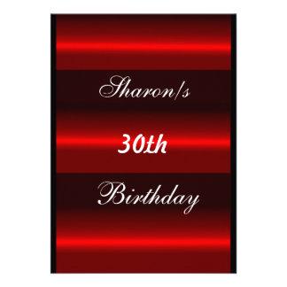 Convite formal da festa de aniversário vermelha