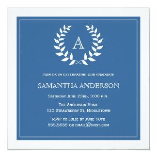 Convite formal da graduação da grinalda - azul