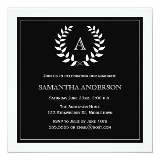 Convite formal da graduação da grinalda - preto