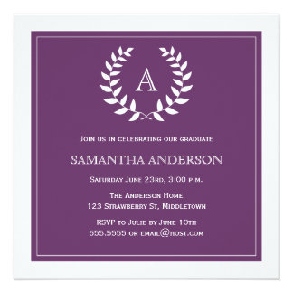 Convite formal da graduação da grinalda - roxo