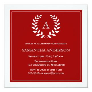 Convite formal da graduação da grinalda - vermelho