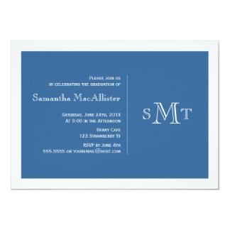 Convite formal da graduação do monograma - azul