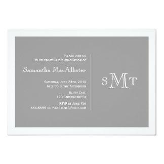 Convite formal da graduação do monograma - cinza