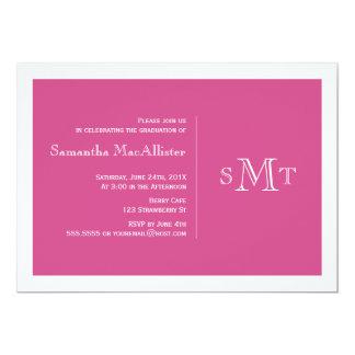 Convite formal da graduação do monograma - rosa