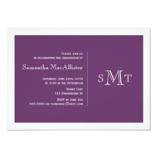 Convite formal da graduação do monograma - roxo