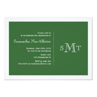 Convite formal da graduação do monograma - verde