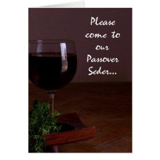 Convite formal de Seder do Passover do vidro de Cartão Comemorativo