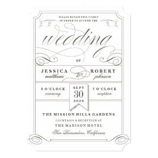 Convite formal do bilhete do casamento