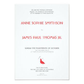 Convite formal do casamento das aves canoras