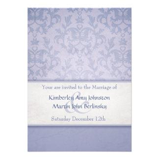 Convite formal do casamento do damasco azul