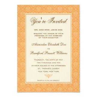 Convite formal do casamento do damasco elegante:: convite 12.7 x 17.78cm