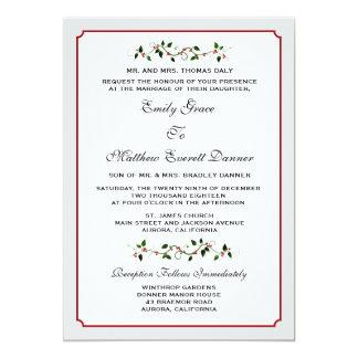 Convite formal do casamento do inverno do feriado
