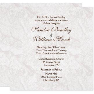 Convite formal do casamento do olhar do granito