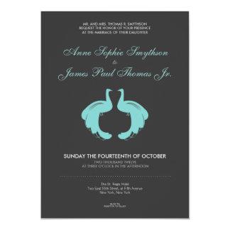 Convite formal do casamento dos pavões azuis
