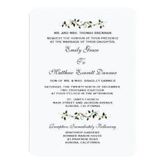 Convite formal do casamento no inverno do feriado