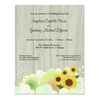 Convite formal do chá do girassol amarelo na moda convite 10.79 x 13.97cm