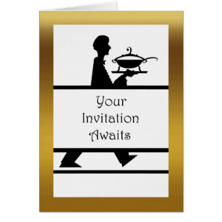 Convite formal do comensal, servidor com Tureen de Cartão Comemorativo
