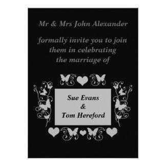 Convite formal do divertimento preto do casamento