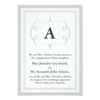 Convite formal do monograma no cinza