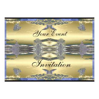 Convite formal do partido metálico azul dourado