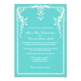 Convite formal elegante do casamento, azul tiffany