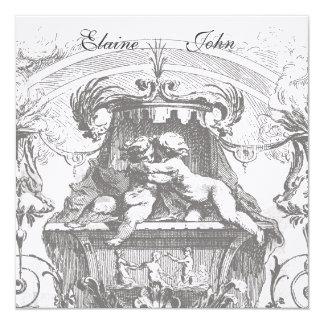 Convite francês da arquitetura dos anjos do convite quadrado 13.35 x 13.35cm