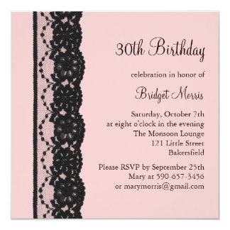 Convite francês do aniversário do laço (rosa)