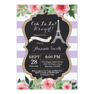 Convite francês do chá de fraldas da torre Eiffel