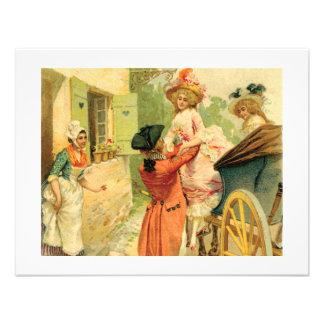 Convite francês do século XVIII da carruagem do vi
