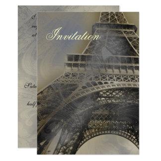Convite francês parisiense do casamento da torre
