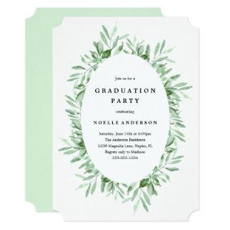 Convite frondoso da celebração da graduação