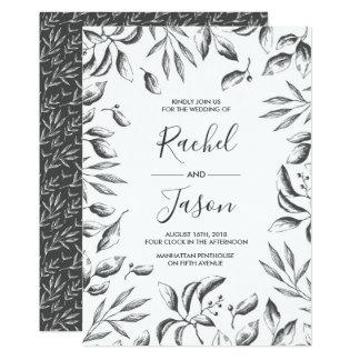 Convite frondoso do casamento da aguarela cinzenta
