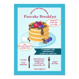 Convite Fundraising do pequeno almoço da panqueca